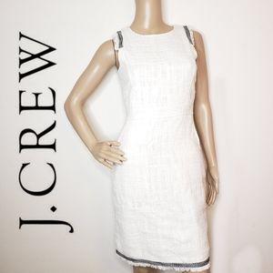 J crew white tweed fringe black trim dress size 0